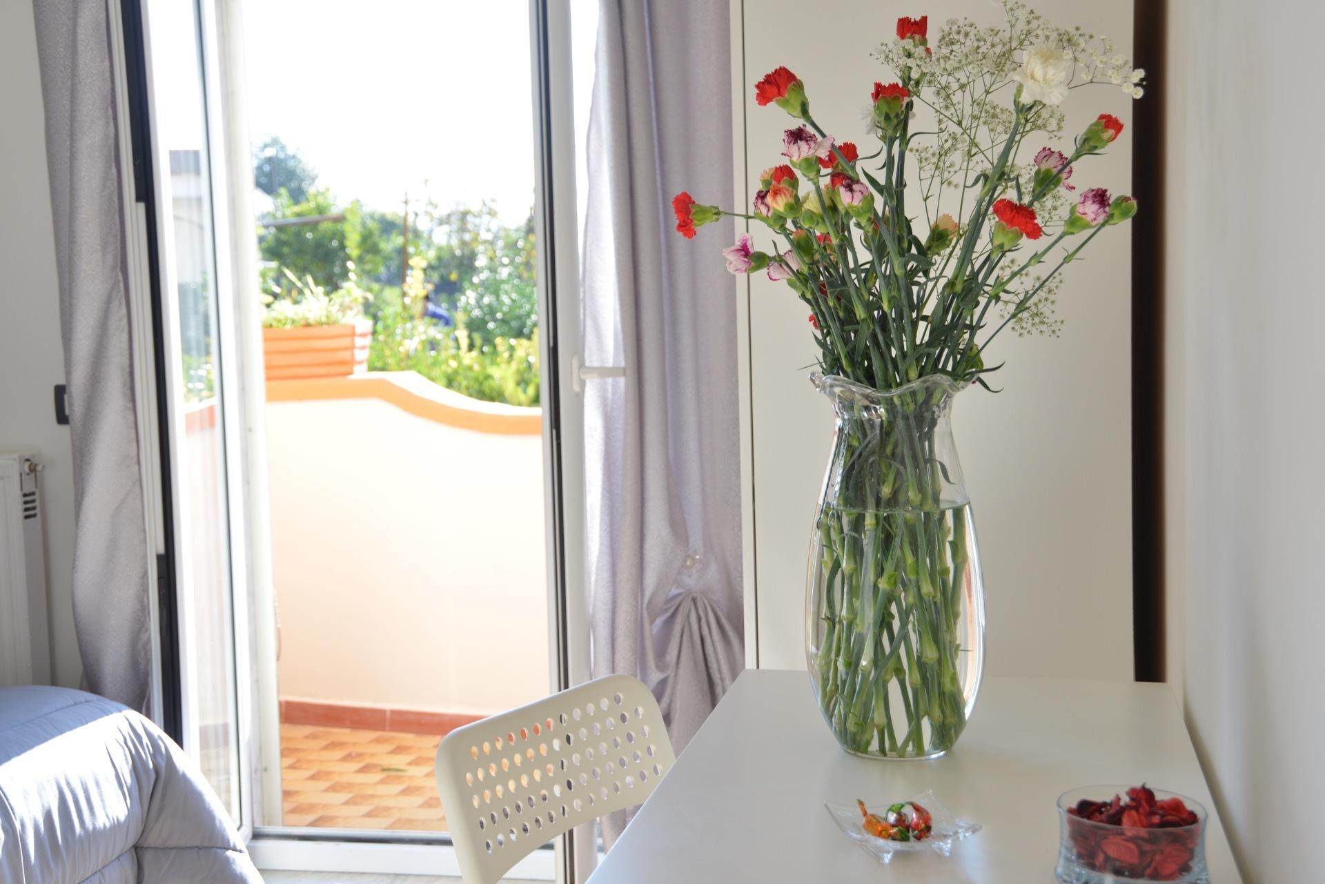 vista del terrazzo dalla camera del bed and breakfast